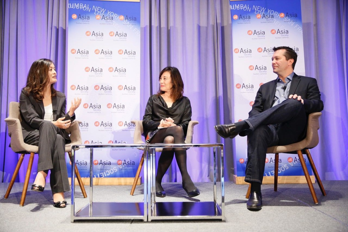 ZHANG Wei, President of Alibaba Pictures, Jeff Small, President and Co-Chief Executive Officer of Amblin Partners in conversation with Janet Yang, Managing Director of Creative Content of Tang Media Partners during the 2016 U.S.-China Film Summit held at UCLA on November 1, 2016 in Los Angeles, California.