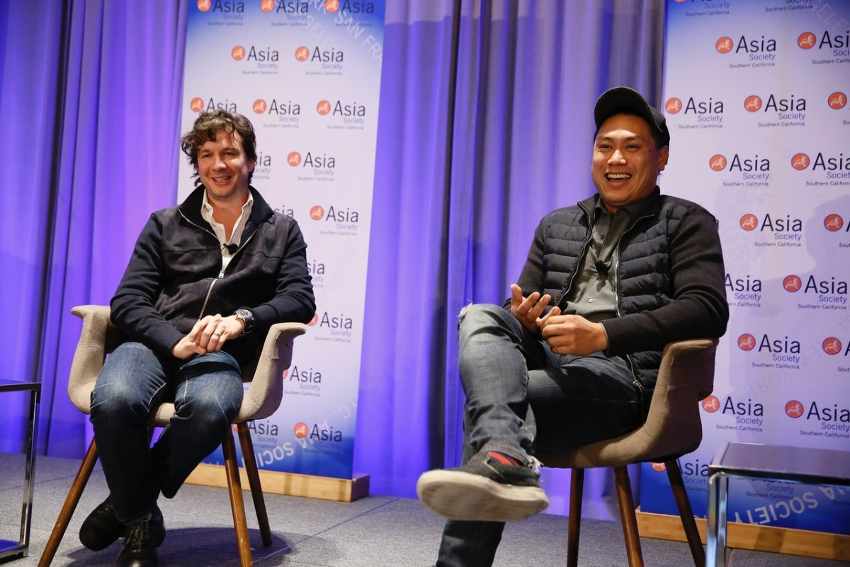 Jon M. Chu, director of Now You See Me and Step Up movies in conversation with John Penotti, Co-Founder of Ivanhoe Pictures, and President of Sidney Kimmel Entertainment during the 2016 U.S.-China Film Summit held at UCLA on November 1, 2016 in Los Angeles, California.