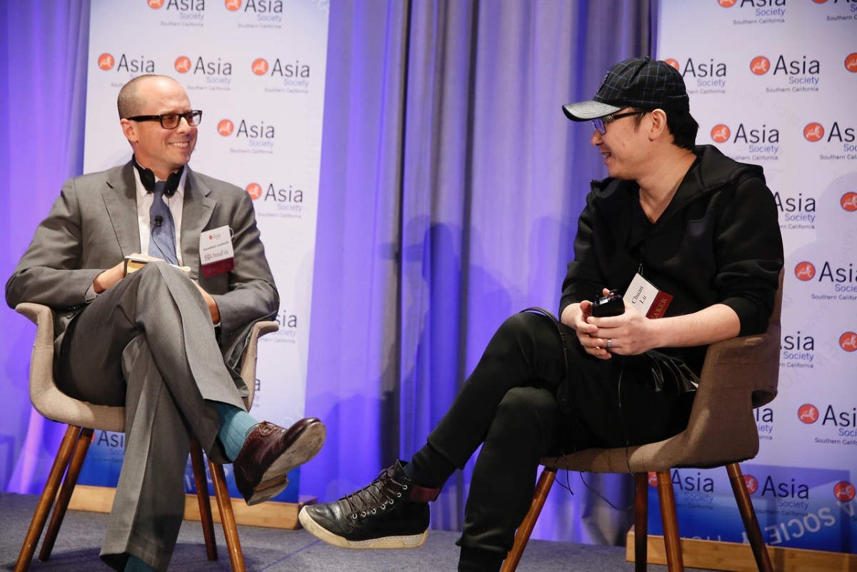 LU Chuan in conversation with Jonathan Landreth, Managing Editor of ChinaFile during the 2016 U.S.-China Film Summit at UCLA on Tuesday, November 1, 2016, in Los Angeles, California.