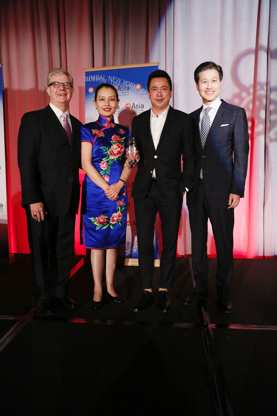 From left, Thomas McLain, Chairman Asia Society Southern California, Wang Jin, Chinese Cultural Attache at Consulate, James Wang, Co-Founder, Vice Chairman and CEO Huayi Brothers Media Corporation and Dominic Ng, East West Bank pose during the 2016 U.S.-China Film Gala Dinner held at the Millennium Biltmore Hotel on Wednesday, November 2, 2016, in Los Angeles, California.