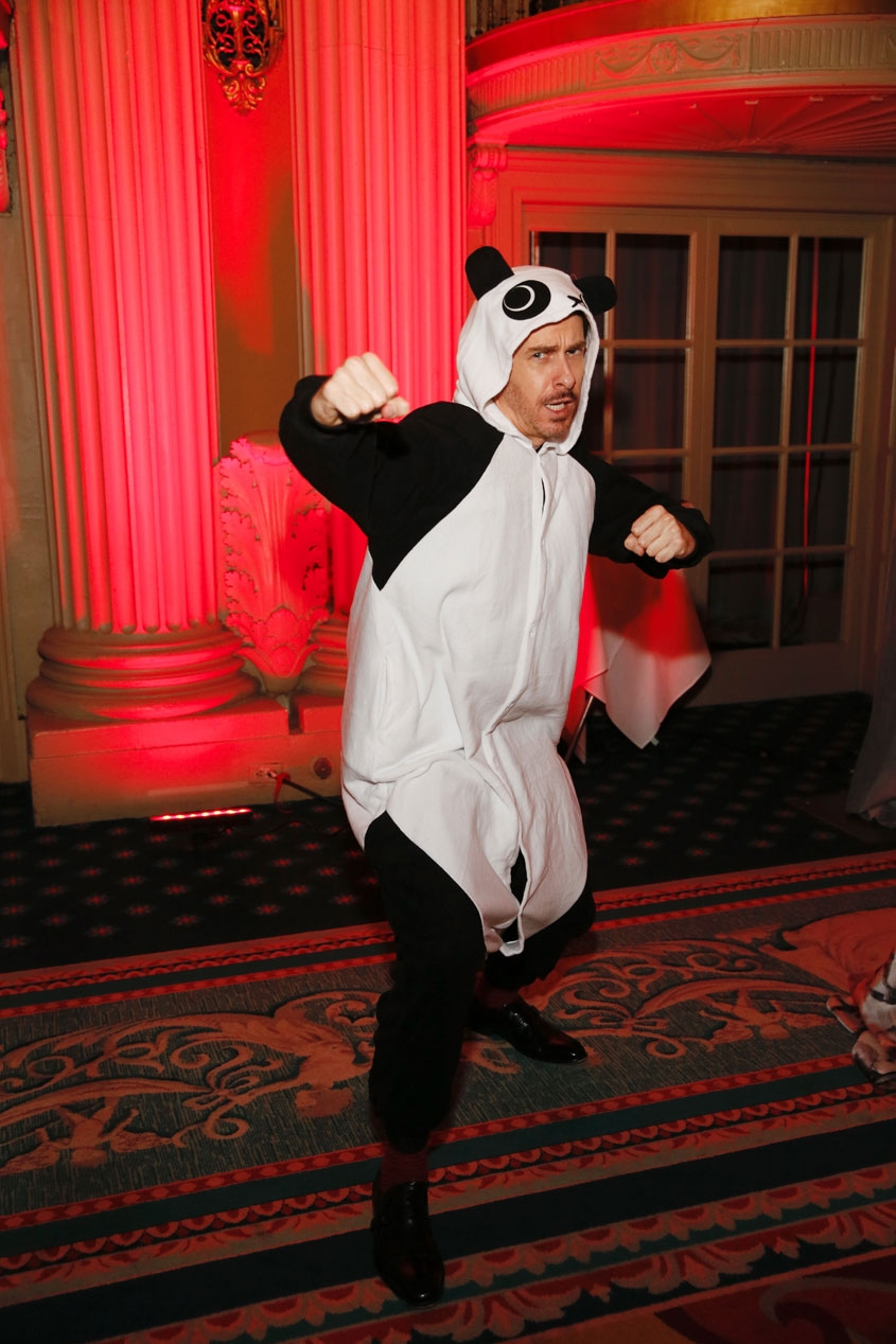 Host Jeff Locker poses in a Kung Fu Panda suit during the 2016 U.S.-China Film Gala Dinner held at the Millennium Biltmore Hotel on Wednesday, November 2, 2016, in Los Angeles, California.