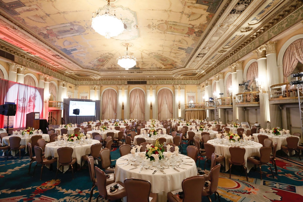 The ballroom interior during the 2016 U.S.-China Film Gala Dinner held at the Millennium Biltmore Hotel on Wednesday, November 2, 2016, in Los Angeles, California.
