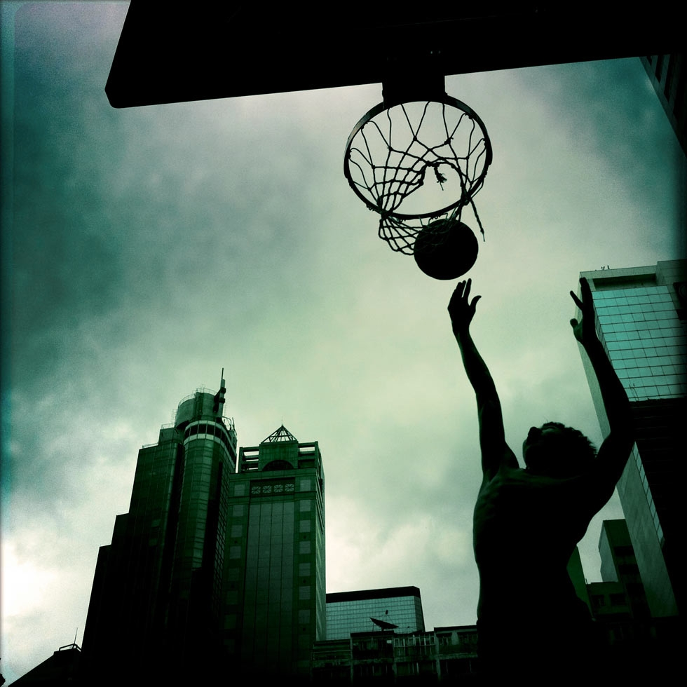 A game of basketball at the Wan Chai southern playgrounds. (Palani Mohan)