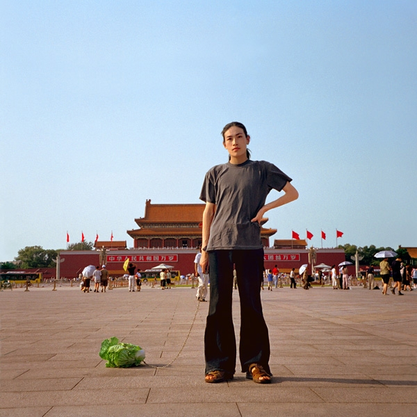 Walking the Cabbage in Tiananmen Square, Beijing 2001.
