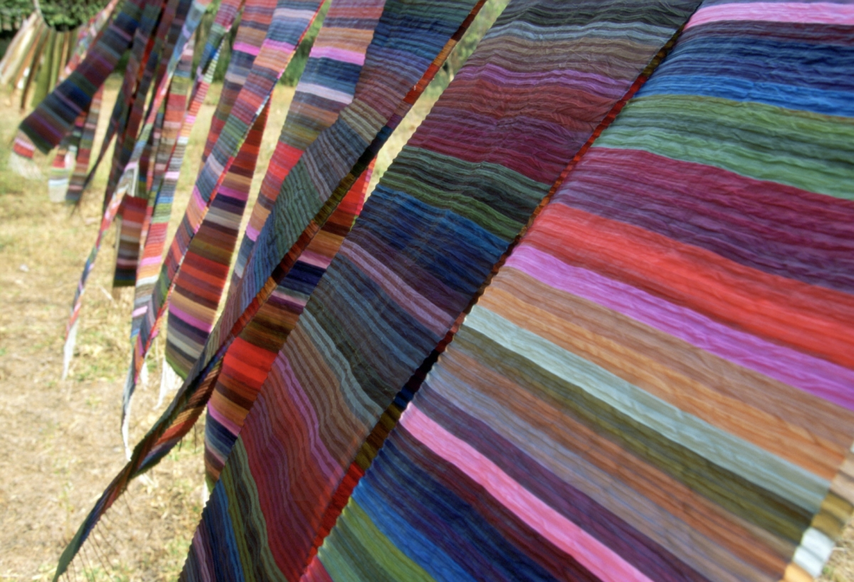 "Silk ""rainbow"" scarves by Lao Textiles, the company founded by Carol Cassidy"