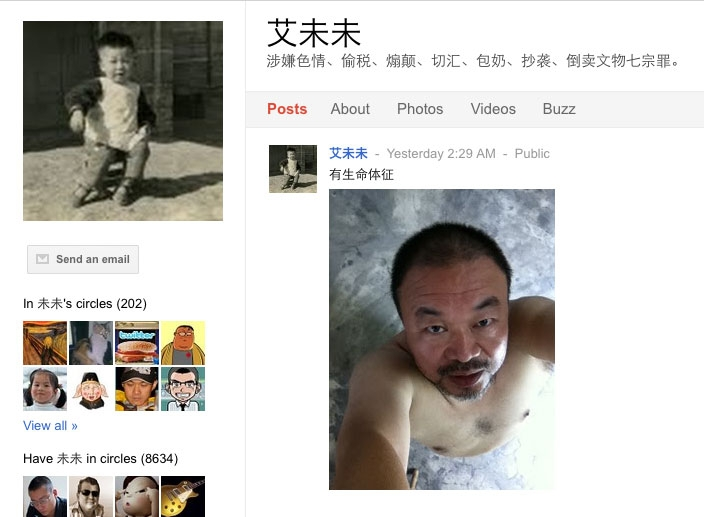 "Weiwei's alleged Google+ profile and most recent post, ""有生命体征"" (""there are signs of life"")."