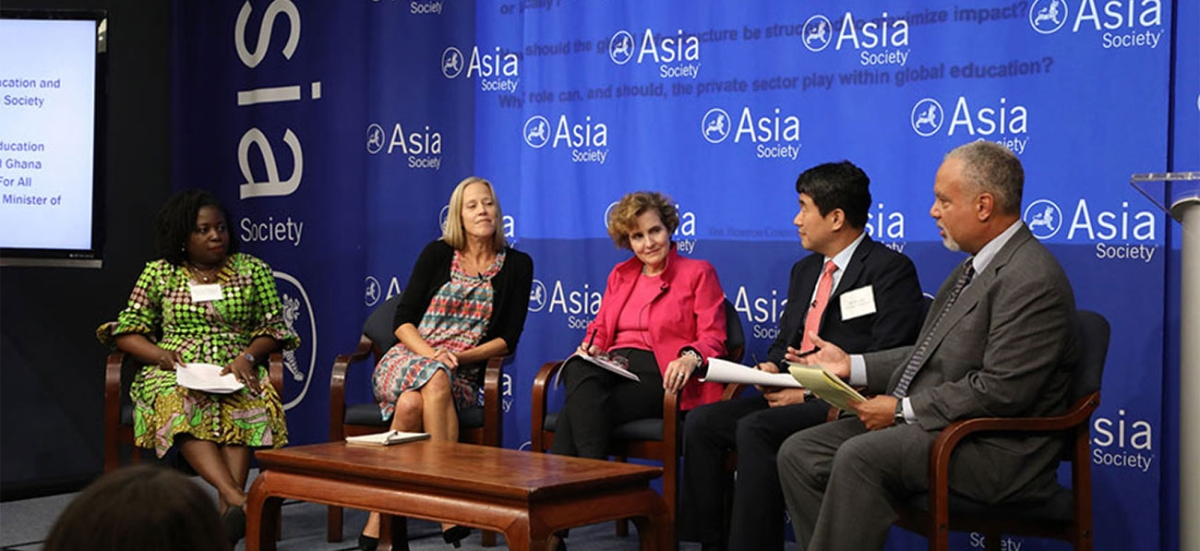 "Panelists at the event, ""What Global Education Can Learn from Public Health."" From left: Dolores Dickson, Regional Executive Director, Camfed West Africa; Wendy Kopp, CEO and Co-Founder, Teach For All; Alice Albright, CEO, Global Partnership for Education; Ju-Ho Lee, Education Commissioner and former Minister of Education, Republic of Korea; and Tony Jackson, Vice President, Education, and Director, Center for Global Education at Asia Society (moderator). (Ellen Wallop/Asia Society)"