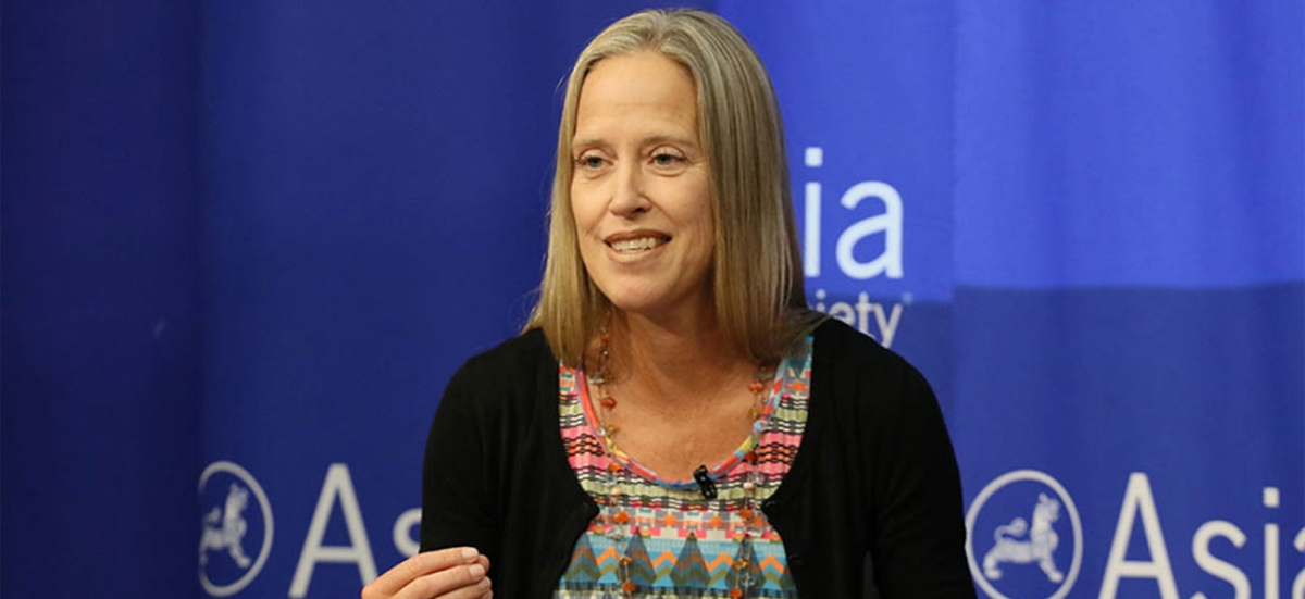 "Wendy Kopp, Teach for All CEO and Co-Founder, speaks during the panel, ""Implications for the Education Sector."" (Ellen Wallop/Asia Society)"
