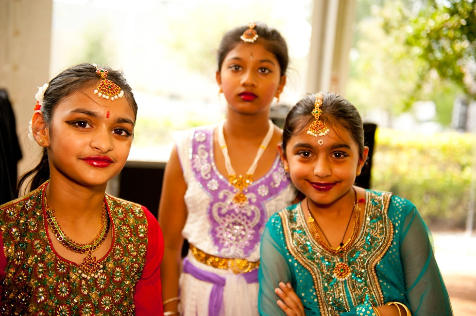 Young students of the Anjali Center for Performing Arts prepare for their South Indian folk dance (Jeff Fantich).