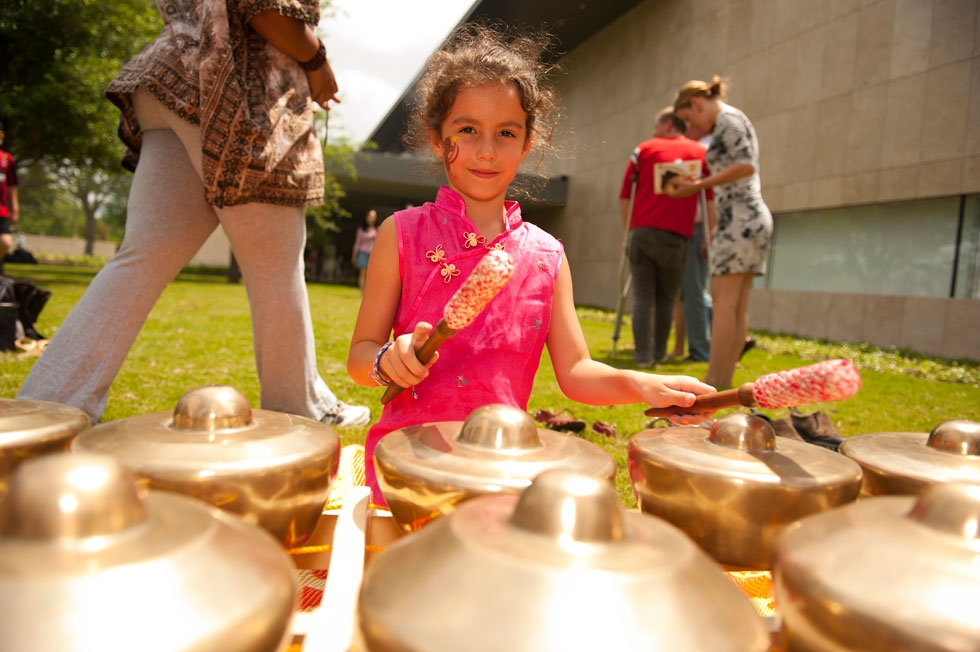 Space City Gamelan invites visitors to drum along with them to Javanese music (Jeff Fantich).