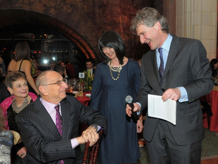 L to R: At Guastavino's, Asia Society Trustee Hal Newman chatted with Asia Society Museum curator Miwako Tezuka and the night's auctioneer, Henry Howard-Sneyd of Sotheby's. (Elsa Ruiz/Asia Society)