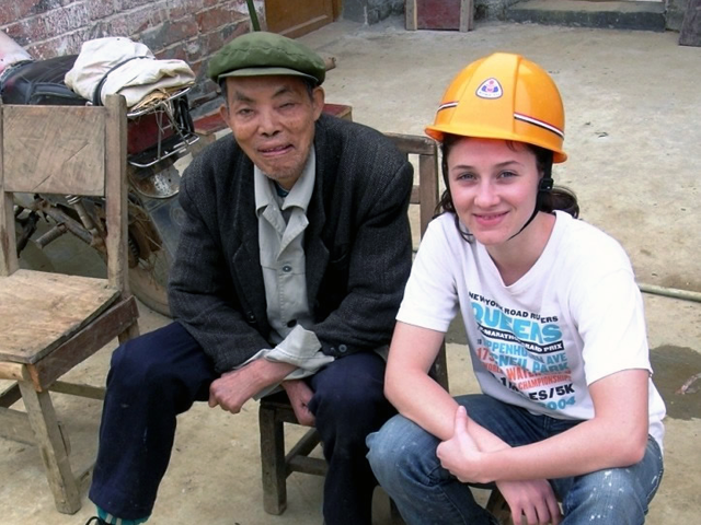 Adina working on a Habitat for Humanity project in rural China. (Adina Matisoff)