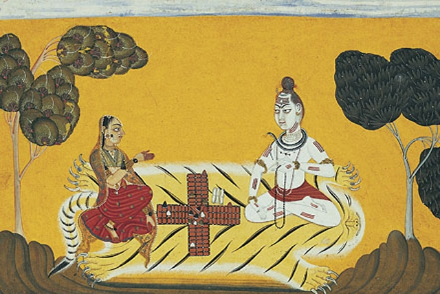 Devidasa of Nurpur Shiva and Parvati Playing Chaupar, page from a dispersed Rasamanjari (Essence of the Experience of Delight) Basohli, Punjab Hills, India; late 17th century, dated 1694–95 Ink, opaque watercolor, gold, and silver on paper 17 x 28 cm The Metropolitan Museum of Art, Gift of Dr. J. C. Burnett, 1957. (57.185.2)