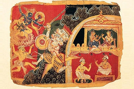 Folio from a Bhagavata Purana showing a battle between Krishna and the fire-headed demon Mura. Asia Society Collection.