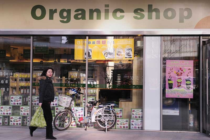 A woman passes Lohao City, Beijing's first organic health foods store on January 12, 2009. (Peter Parks/AFP/Getty Images)