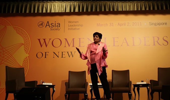 Asia Society President Vishakha Desai speaks at Asia Society's Women Leaders of New Asia summit in Singapore on April 2, 2011.