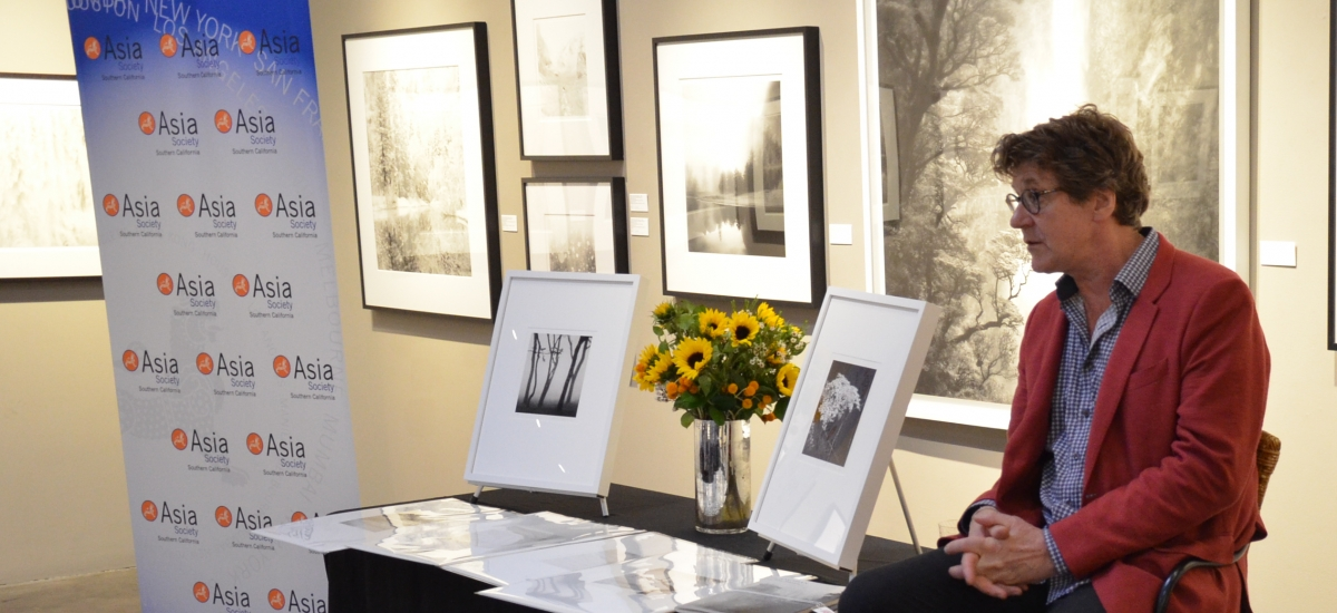 Photographer Michael Kenna speaks at an Asia Society Southern California event at Peter Fetterman Gallery on June 5, 2018.