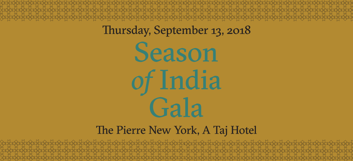 Asia Society Fall 2018 Season of India Gala Invitation