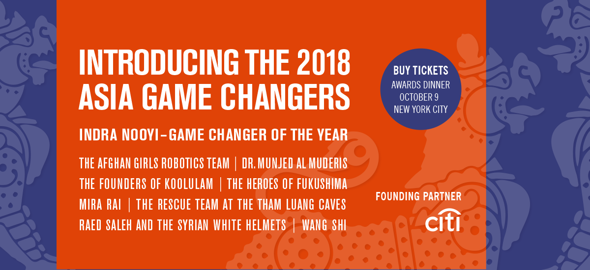 2018 Asia Game Changer Awards Honorees - Asia Society
