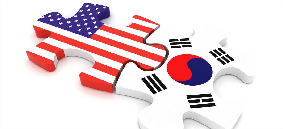 United States and South Korean flags as puzzle pieces