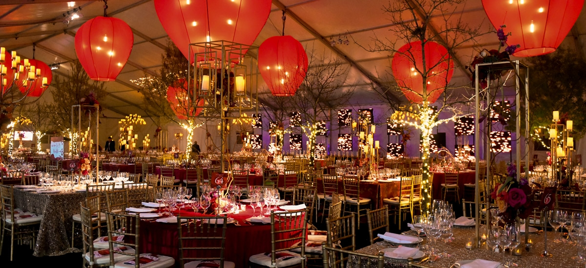 Decor in the dinner tent at Tiger Ball 2019: Celebrating Asia Society's 40th Anniversary in Houston on Friday, March 1, 2019, at Asia Society Texas Center.