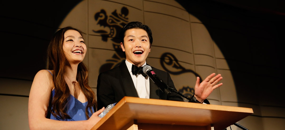 Olympic Spirit Award winners Maia Shibutani and Alex Shibutani during the Asia Society Southern California 2019 Annual Gala at the Skirball Cultural Center on April 7, 2019, in Los Angeles, California. (Ryan Miller/Capture Imaging)