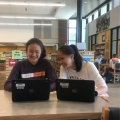 Chinese III students at Blacksburg High School complete their online lessons.