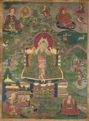 "Lha'i rgyal po. 16th century. U (Central Tibet). Tradition: Gelug. Pigments on cloth. MU-CIV/MAO ""Giuseppe Tucci,"" inv. 969/802. Image courtesy of the Museum of Civilisation/Museum of Oriental Art ""Giuseppe Tucci,"" Rome."
