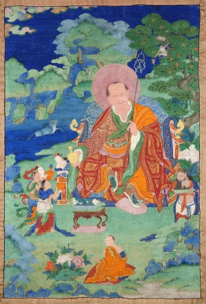 "Nagasena Arhat. 17th century. Possibly Kham (East Tibet). Tradition: Gelug. Pigments on cloth. MU-CIV/MAO ""Giuseppe Tucci,"" inv. 933/766. Placement as indicated on verso: 6th from left. Image courtesy of the Museum of Civilisation/Museum of Oriental Art ""Giuseppe Tucci,"" Rome."