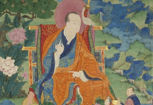 Vajriputra Arhat. 17th century. Possibly Kham (East Tibet). Tradition: Gelug. Pigments on cloth. MU-CIV/MAO 'Giuseppe Tucci,' inv. 926/759. Placement as indicated on verso: 3rd from right. Image courtesy of the Museum of Civilisation/Museum of Oriental Art 'Giuseppe Tucci,' Rome.