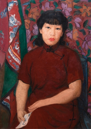 Self-portrait in Red, c.1940, Oil on canvas. Anhui Provincial Museum.