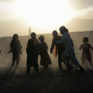Afghan children play on the outskirts of Jalalabad