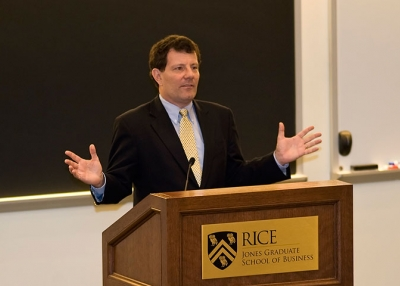 New York Times columnist Nicholas Kristof discusses the challenges facing women worldwide at Rice University on Oct. 25. (Jeff Fantich Photography)