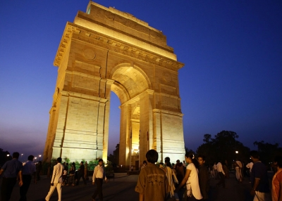 Locals circulate before India Gate in New Delhi. (Matt King/Getty Images)