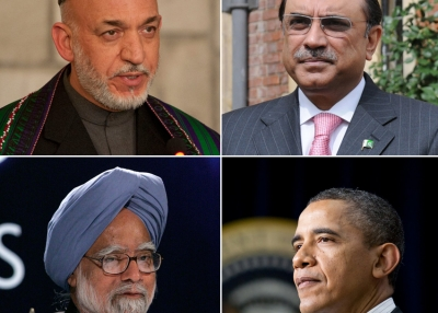 Clockwise from top left: Hamid Karzai, President, Afghanistan; Asif Ali Zardari, President, Pakistan; Barack Obama, President, United States; Manmohan Singh, Prime Minister, India. (Secretary of Defense, The Prime Minister's Office, US Department of Labor and London Summit/Flickr)