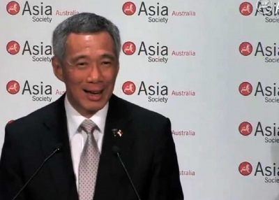 Singapore Prime Minister Lee Hsien Loong speaking in Sydney on October 12, 2012.