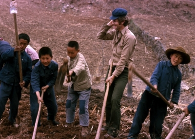 In 1975 the author worked for a month at the Dazhai model agricultural work brigade in Shanxi province. Here he helps prepare the fields for maize, peanuts and fruit. (Orville Schell)