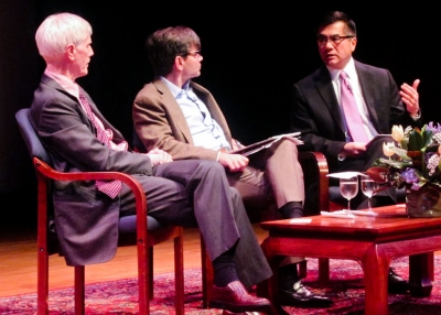 U.S. Ambassador to China Gary Locke (R) in conversation with George Stephanopoulos (C), of ABC News, and Orville Schell, Director of Asia Society's Center on U.S.-China Relations at Asia Society in New York on December 17, 2012. (Bill Swersey/Asia Society)