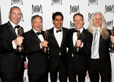 L to R: Animation director Erik-Jan De Boer, director Ang Lee, actor Suraj Sharma, composer Mychael Danna, and cinematographer Claudio Miranda attend the 20th Century Fox Academy Award Nominees Celebration on February 24, 2013 in Hollywood, California. (Imeh Akpanudosen/Getty Images)