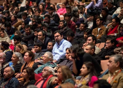 The crowd inside the Alhamra Art Center in Lahore, Pakistan on February 23, 2013, Day 1 of the inaugural Lahore Literary Festival. (Saad Sarfraz Sheikh)