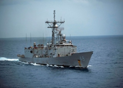The USS Vandegrift cruises the South China Sea on Oct. 15, 2012.