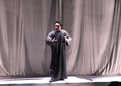 "Still from the 2002 Hong Kong Arts Festival performance of ""Wenji: Eighteen Songs of a Nomad Flute."""