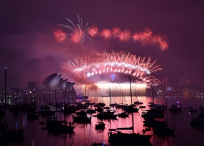 New Year's fireworks erupt over Sydney's iconic Harbour Bridge and Opera House during the traditional fireworks at midnight on January 1, (Saeed Khan/AFP/Getty Images)
