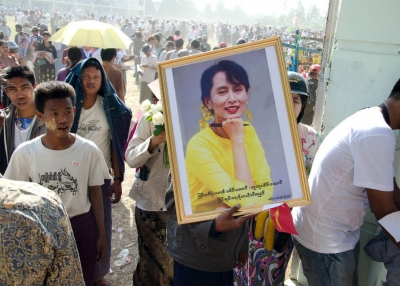 Rally for Aung San Suu Kyi in Pathein, 2012. (Geoffrey Hiller)