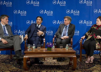 (L to R) Tom Nagorski, Thant Myint-U, Tom Freston, and Priscilla Clapp discuss Myanmar's historic political and economic turnaround at Asia Society New York on April 21, 2015.
