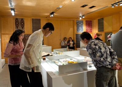 Visitors explore the 'Filipino Design Now' installation at Asia Society New York on September 12, 2015. (Elena Olivo/Asia Society)