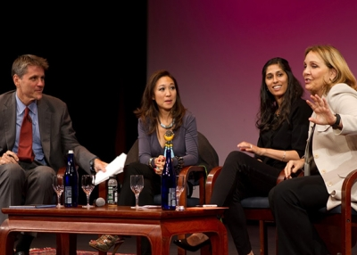 Tom Nagorski, Peggy Liu, Aamina Awan, and Josette Sheeran speak at Asia Society New York. (Stella Könemann)