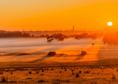 The rising sun casts an orange glow over the fields and trees in Victoria, Australia on November 9, 2015. (Graham Hartle/Flickr)