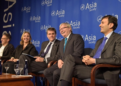 (L to R) Ian Bremmer, Josette Sheeran, Tom Nagorski, Kevin Rudd, and Ruchir Sharma at Asia Society in New York forecast what will happen in Asia in 2016. (Elsa Ruiz/Asia Society)