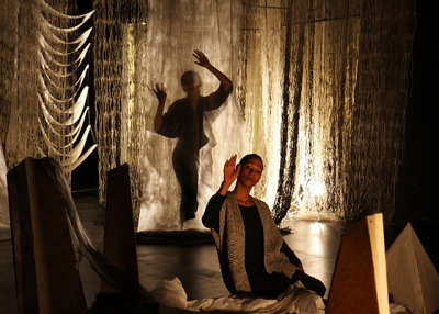 Performer Karen Kandel as 'papermaker' in 'Recycling: Washi Tales.' (Valerie Oliveiro)